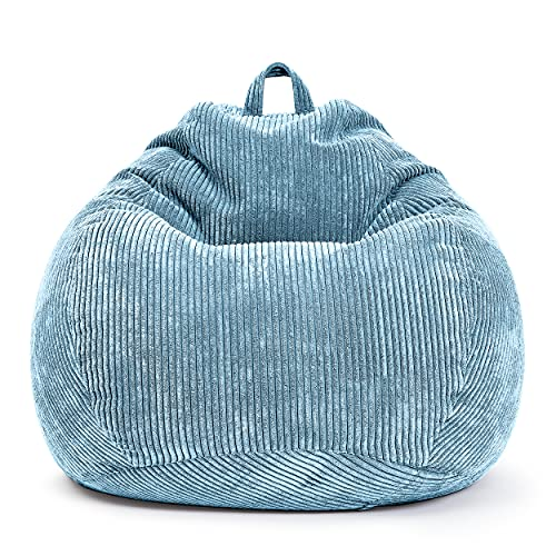 Green Bean © Scoop Indoor Sitzsack 90 x 110 cm - EPS-Perlen Kügelchen Füllung - Cord - kuschelig, weich, robust - waschbar - Beanbag, Lounge Chair, Liege - Hellblau Babyblau