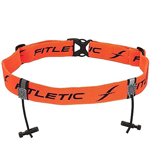 Fitletic Race Bib Belt Race Number Belt Race Bib Holder   for Triathlon, Trail Running, Marathon, Ironman, 5k, 10k   Race 1, Orange   RN01-03