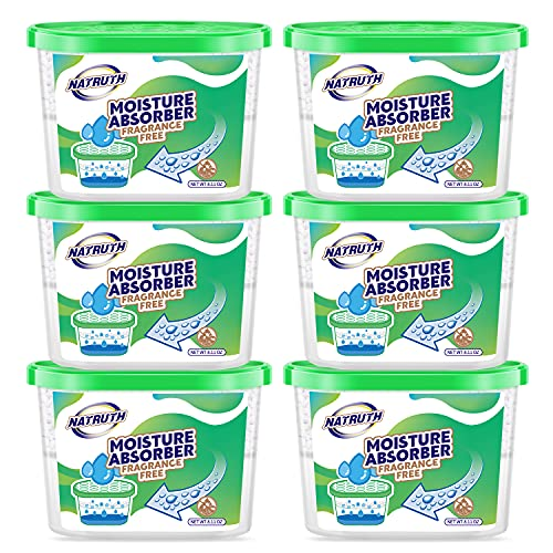 NATRUTH Moisture Absorber Boxes 500mL (6 Packs), Unscented for Closet Dehumidifier, Eradicate Odor,Moisture Absorber, Dehumidifier for Closet,Bathrooms, Kitchen & Study, Boats,RVs and More (6)