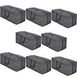 VENO Heavy Duty Extra Large Moving Bags W/ Backpack Straps Strong Handles & Zippers, Storage Totes For Space Saving, Fold Flat, Alternative to Moving Box, Recycled Material (Windowpane - Set of 8)