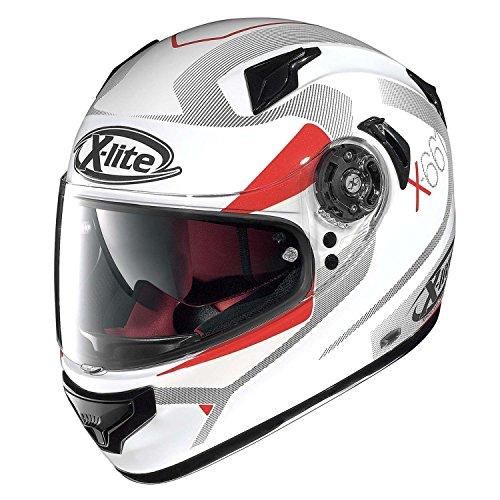 NOLAN Casco Integral de Motocicleta X-Lite X 661Point Croix de Fibra N- Com, Color Blanco y Rojo, Talla M