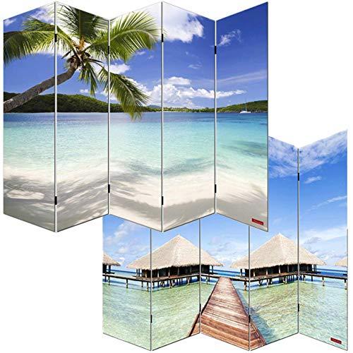 Mendler Foto-Paravent Paravent Raumteiler Trennwand M68-180x200cm, Strand