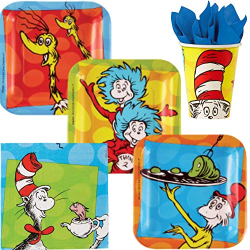 Dr Seuss Party Supplies | Themed Bundle Includes Paper Dessert Plates, Napkins and Cups for 8 People with Your Favorite Characters | Cat in The Hat, Sneetches, Thing 1 and Thing 2, Green Eggs and Ham