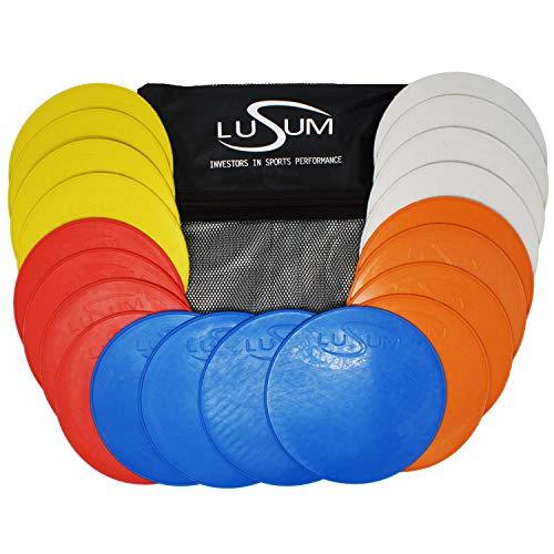 Lusum Juego de 20 discos redondos de goma antideslizantes de tamaño completo Pro