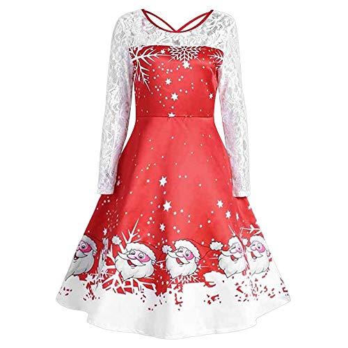 Vestido de Navidad Transwen para Mujer, Vintage, de Manga Larga, Estampado, para Fiestas de Navidad, Fiestas de Fiesta, Rockabilly, cóctel, Vestido de Noche Rojo M