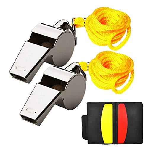 Nuosen Schiedsrichter Karten Set, Rote Karte Gelbe Karte mit Tasche und 2 Stücke Metall Schiedsrichter Pfeife für Fußball