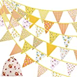 ADXCO 41 Feet Fabric Bunting Banner Vintage Bunting Flag 42 Pieces Floral Pennants Triangle Flags Vintage Cloth Garland for Birthday Wedding Party Home Garden Baby Shower Decor, Yellow
