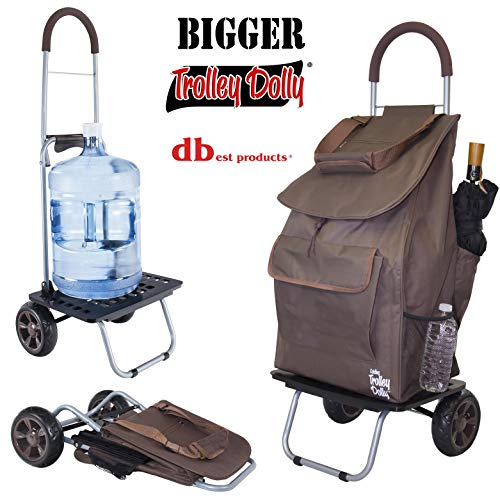 dbest products Bigger Trolley Dolly, Brown Shopping Grocery Foldable Cart