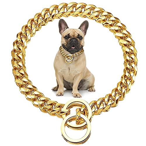 Catena per cani in metallo,Placcato oro 18K Catena di Collare di Cane,45cm Collare for Cani in Oro,accessori per cani alla moda e sicuri,CEASELESLY leader nella tendenza degli animali domestici