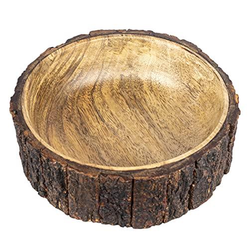 GoCraft Mango Wood Nut Bowl with Tree Bark, Medium Sized, 7.5' Diameter x 2.75' Height, Single Bowl
