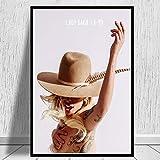 XQWZM Impresiones de Carteles de Cantante de música, póster de Lady Gaga Pop Star Album Rap Canvas Oil Painting Art Wall Pictures, para Sala de Estar Decoración para el hogar 50X70 cm Sin Marco