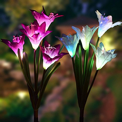 Solar Outdoor Lights with Lily Blossom