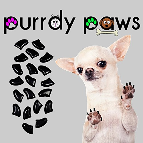 Purrdy Paws 40-Pack Soft Nail Caps for Dogs Claws Black XXL