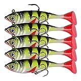 hjbds 5pcs / Set Soft Fishing Lure Swimbait 8.4cm 10.7g Silicona Bebe Artificial Jig Cabeza Wobblers for Tackles de Pesca de Pike Cebo (Color : 8.4cm 10.7g)