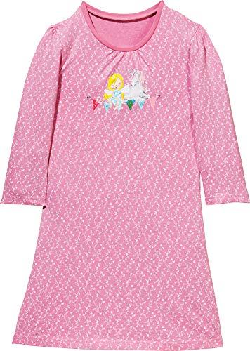 Erwin Müller Kinder Nachthemd, Nachtkleid, Pyjama, Nachtwäsche Single-Jersey, Fee und Einhorn rosa Größe 122/128 - weich und anschmiegsam