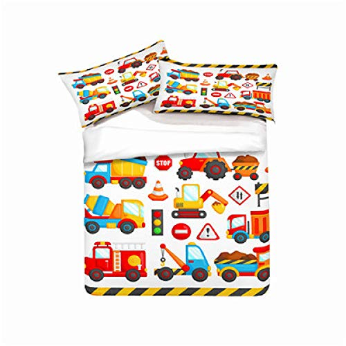 Fadaseo Kids Duvet Cover Single 140 X 200 Cm 3D Printing Cartoon Car Transportation 3 Pieces Bedding Set. Easy Care And Super Soft Cotton Design.With 2 Pillowcases Hypoallergenic