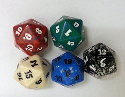 5 Magic Würfel - Spindown - schwarz, rot, grün, weiss, blau