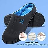 MqSlipper Men's Slippers Memory Foam House Indoor Outdoor,Comfortable Non Slip Slip On Bedroom Slippers for Men,Size 12 12.5 13 US Men, Grey/Blue