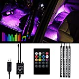 Car Interior Lights - VIDEN Car Strip LED Lights, Waterproof with 4PCs 48 LEDs 8 Colors with Sound Sensor and Remote Control, Flexible Tubing, USB Port Car Charger Light Bar, DC 5V (AA-332)