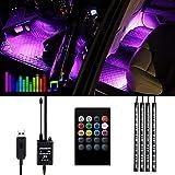 Striscia LED Auto -Lambony Luci LED Interne per Auto con 48 LED RGB, 4 Barre Striscia LED Auto 8 Colori, Illuminazione Auto Strisce 4 Modalità Musica, Telecomando– Alimentato da USB
