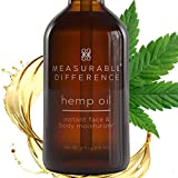 Measurable Difference Hemp Oil for Skin Care, 100% Natural Premium Cold Pressed Oil for Face, Body, Hair - Delay Age Signs - Pure Hemp Seed Oil - 4 Oz
