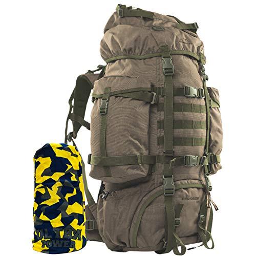 Wisport Bug Out Bag 75L für Damen & Herren I Prepper Rucksack Frauen Männer I BOB Backpack I Go Bag I Fluchtrucksack groß taktisch I Cordura I Reindeer + Ultrapower Schlauchtuch; RAL-7013