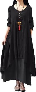 Romacci Donna Vestito Lungo Maxi Scollo a V e Maniche Lunghe Vestito Cotone Lino Lunga Casual Asimmetrico Cocktail Abito
