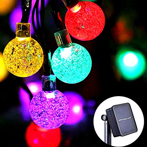 CUQOO Crystal Ball Solar String Lights 4m – 30 LED Crystal Solar Bulbs Lights for Outdoor – Waterproof Solar Fairy Lights - Solar Festoon Lights Outdoor for Home, Garden, Patio, Fence (Multi-coloured)