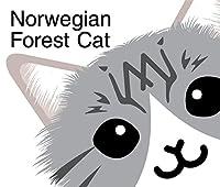 ごきげん ノルウェージャン フォレスト キャット シルバー タビー & ホワイト 猫 ステッカー MK-2
