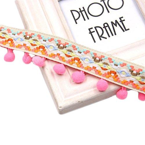 Yalulu 5 Yards Rainbow Lace Fabric Pompom Trim Fringe Ribbon Pom Pom Decoration Pompoms Ball Curtain Clothing Accessories (Pink)