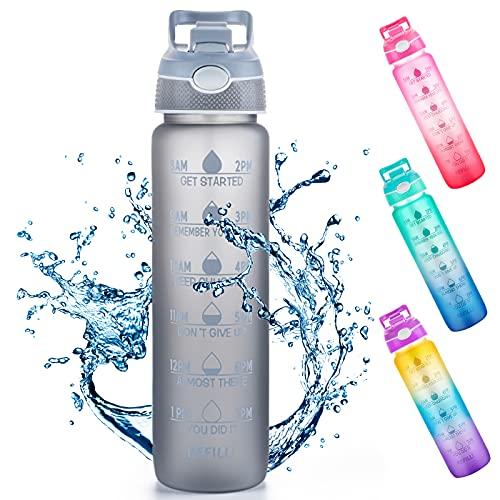 Botella de agua de 1 L con pajita y marcadores de tiempo, Tritan sin BPA, reutilizable, a prueba de fugas, para bicicleta al aire libre (gris)