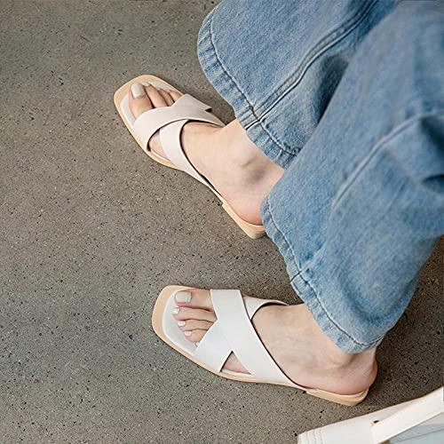 dihui Sandalias de Talón Abierto Mujer,Verano Femenino Grueso con Cruz con sandwalp, Zapatos Cuadrados Retro Medio Cuidado-Verde_36,Sandalias de Piscina Mixtas