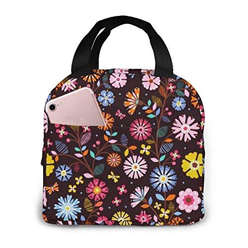 Clematis Garden Brown Tragbare Isolierte Lunchbox Wasserdichte Tote Bento Bag Für Büro Wandern Strand Picknick