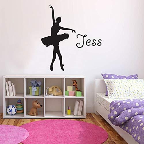 Nombre de niña personalizado etiqueta de la pared bailarina silueta bailarina de ballet bailando vinilo personalizado ventana calcomanía dormitorio decoración del hogar 57 * 62 cm