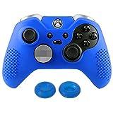eXtremeRate Funda de Silicona para Xbox One Carcasa Suave Cubierta Protectora Antideslizante para Mando de Xbox One Elite con Dos Tapas de Joyticks(Azul)