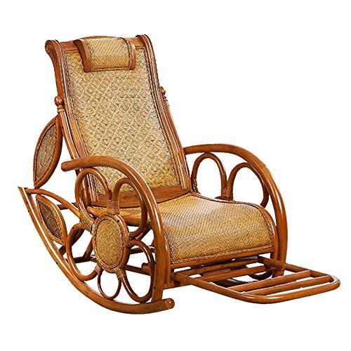 Y&MoD Schaukelstuhl Natur Rattan,Schaukler Relax-Stuhl Schwingsessel Schaukelsessel für Wohnzimmer, Balkon,Einfache Montage,Belastbarkeit 150kg
