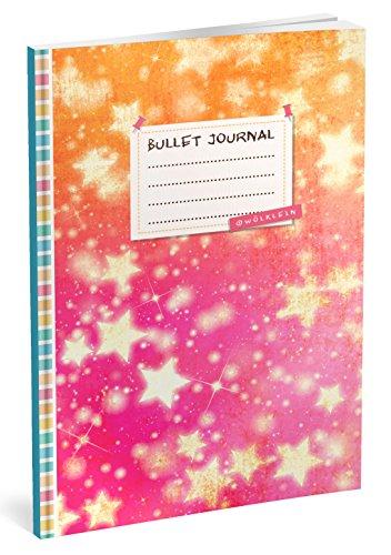 Bullet Journal: Punktraster Notizbuch (Ca. A5) + 100 Seiten + Vintage Softcover | TOP Motiv: Sterne | Dotted Grid Notebook, Kaligrafie Papier, Punktpapier +++ Jetzt mit Register +++