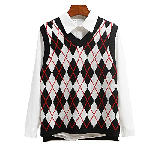 SLLSKY Argyle Fashion Knitted Vest Women Casual Korean Pullover Elasticity Sweater Spring Autumn Sleeveless V-Neck Tank Tops