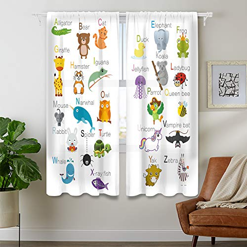 Cinbloo Kids ABC Learning Alphabet Thin Fabric Curtains (Not Blackout) Rod Pocket Educational Funny Teaching Words Printed Living Room Bedroom Window Drapes Treatment 2 Panels 41 (W) x 62(L) Inch