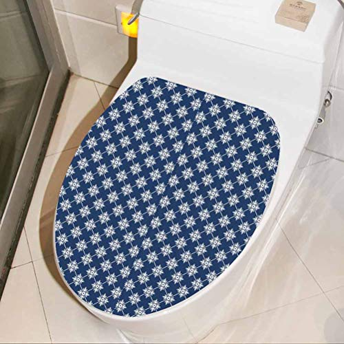 Removable Wall Decal Greek House Tile Themed 3D Toilet Seat Lid Cover Decals Stickers for Children Nursery Baby Teen Senior Adult, W33xH41 cm