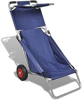 tidyard Carro Portasillas Plegable,Tumbona Plegable,Silla de Playa,Carrito de Playa,Tubo de Aluminio,Capacidad de Carga 80kg,Azul