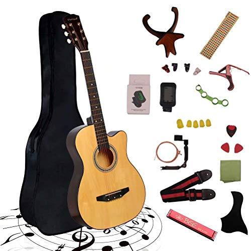 アコースティックギター 初心者25点入門セット ギター 弦 ストラップ チューナー ケース付き(ナチュラル)