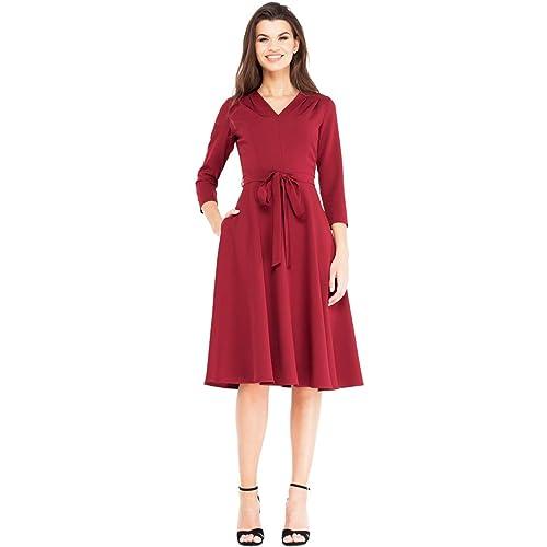0b174c5563f VILONNA Women s Elegant Modest 3 4 Sleeve V Neck Belted Semi Formal Midi  Dress with