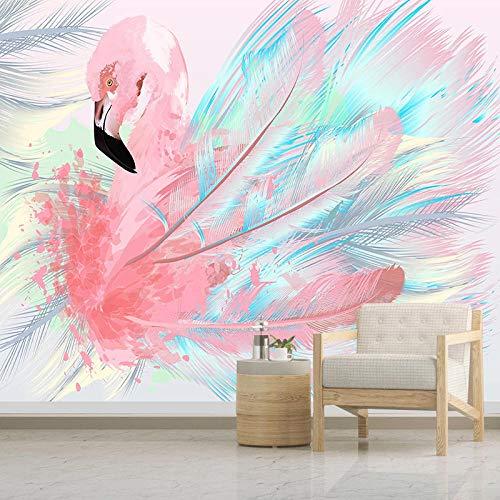 3D Tapete Rosa Flamingo Tapisserie Foto Poster Wand Wand Hintergrund Fototapete Wandbild Schlafzimmer 430X300Cm