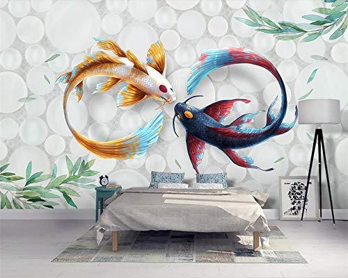 ZAMLE Benutzerdefinierte Tapete Handgemalt Moderne Stilvolle Aquarell Koi Fisch Fresco Tv Couch Hintergrund Wandbilder 3D Wallpaper, 400X280 Cm (157.5 Von 110.2 In)