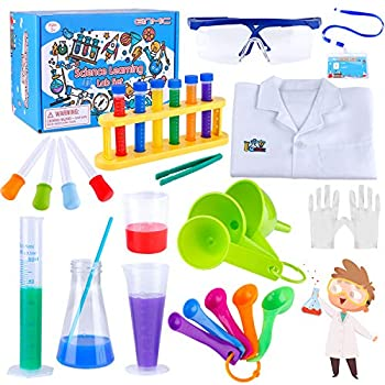 GINMIC Kids Science Experiment Kit Lab Coat Set Scientist Costume Dress Up and Role Play Toys Gift for Boys Girls Kids Age 6+ Christmas Birthday Party