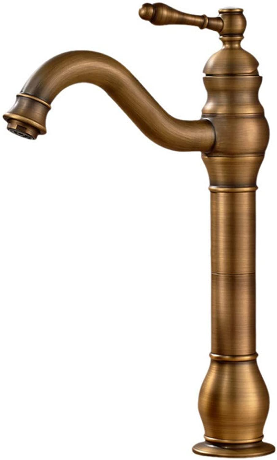Faucet Antique Art Basin Above Counter Basin Faucet Heightening Basin Surface hot and Cold Copper Material European Retro Faucet