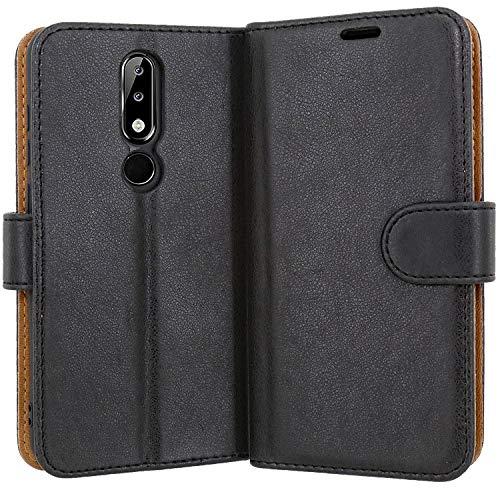 Case Collection Hochwertige Leder hülle für Nokia 5.1 Plus Hülle mit Kreditkarten, Geldfächern & Standfunktion für Nokia 5.1 Plus Hülle