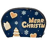 Borse da Toilette,Biscotti di panpepato e fiocchi di neve blu scuro ,make up borse da viaggio,Beauty Case da Viaggio,Cosmetici Trucco Pochette da Toilette Organizer