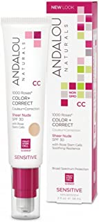 Andalou Naturals Moisturizing Color + Correct, Sheer Nude SPF 30 2oz (Pack of 2)
